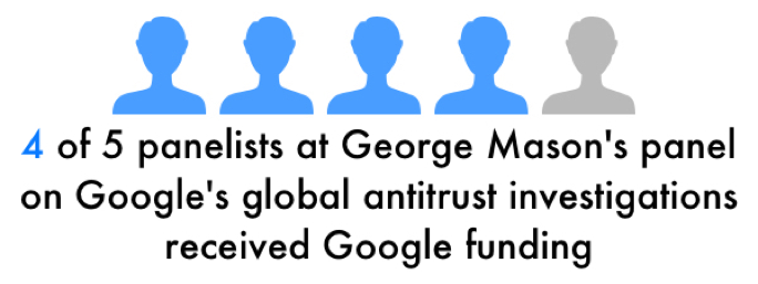Four of five panelists at George Mason's panel on Google's global antitrust investigations received funding from Google