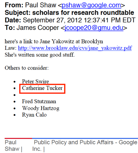 Google suggested Catherine Tucker as a speaker for a GMU conference organized by Cooper