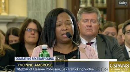 Mother of sex trafficking victim Yvonne Ambrose speaks at Senate Commerce Committee hearing
