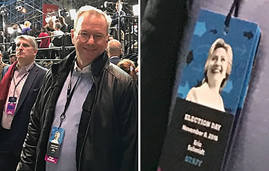 Left: Eric Schmidt at Clinton's election night rally in New York, wearing a staff badge. Right: An enlargement of Schmidt's staff badge on election night.