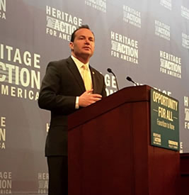Sen. Mike Lee speaks at a Heritage Action event in 2015
