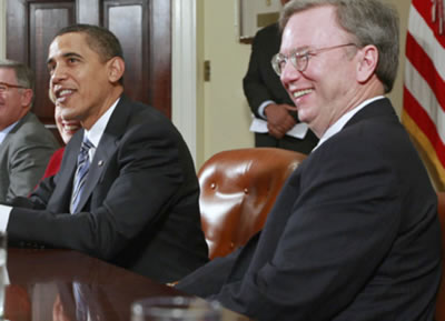 Alphabet Chairman Eric Schmidt and President Obama at White House tech policy meeting