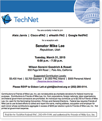 The March 2015 announcement came a week before a scheduled fundraiser for Lee organized by Google and other tech companies at Google's Silicon Valley law firm Wilson Sonsini Goodrich & Rosati.